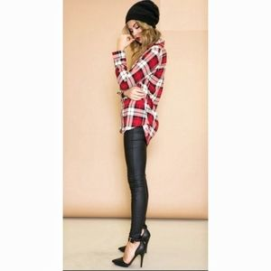 Grunge Plaid Shirt Tie Front With Tank Top
